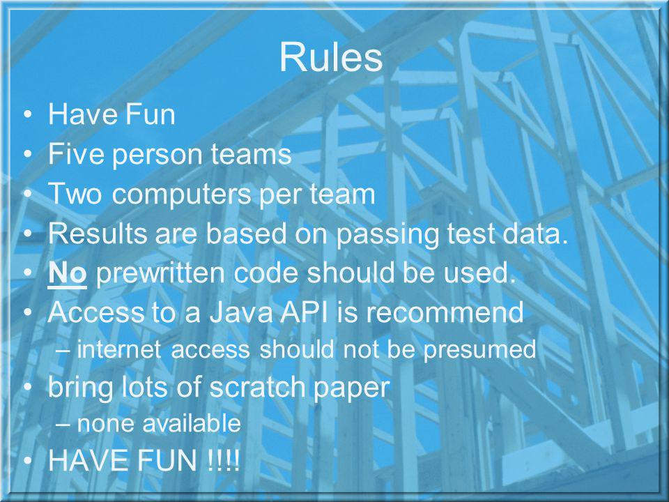 Rules Have Fun Five person teams Two computers per team Results are based on passing test data. No prewritten code should be used. Access to a Java AP