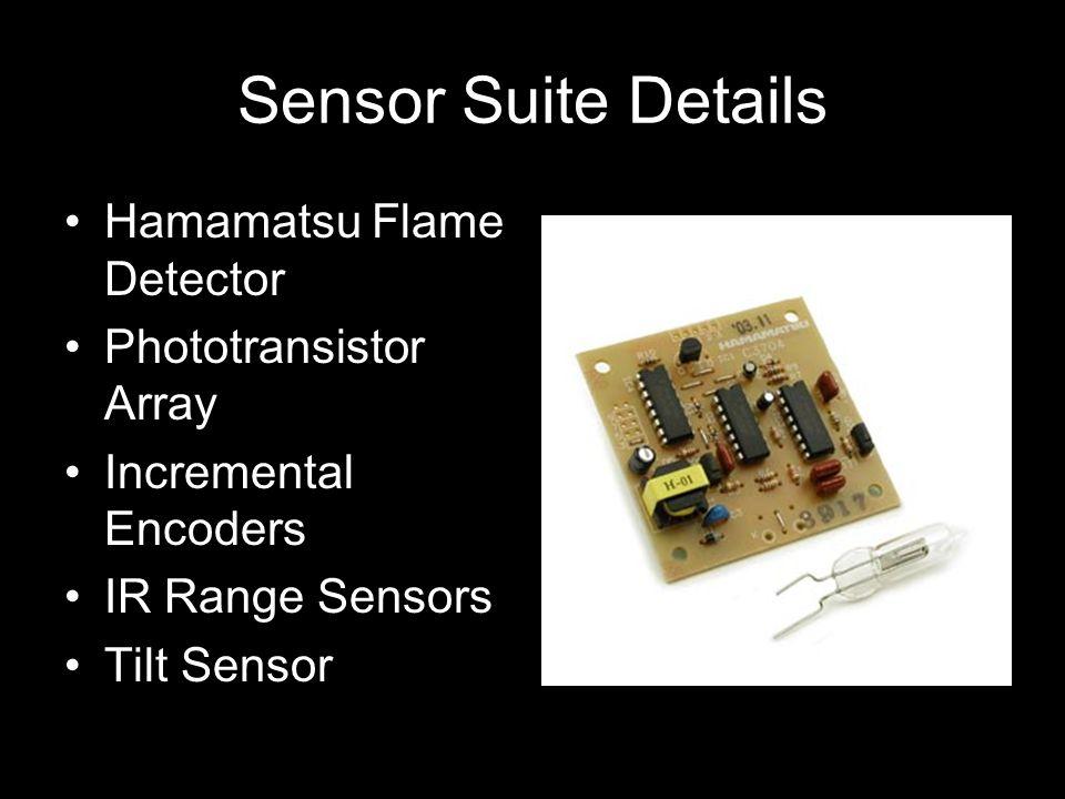 Sensor Suite Details Hamamatsu Flame Detector Phototransistor Array Incremental Encoders IR Range Sensors Tilt Sensor