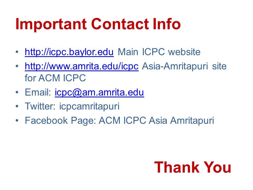 Important Contact Info http://icpc.baylor.edu Main ICPC websitehttp://icpc.baylor.edu http://www.amrita.edu/icpc Asia-Amritapuri site for ACM ICPChttp