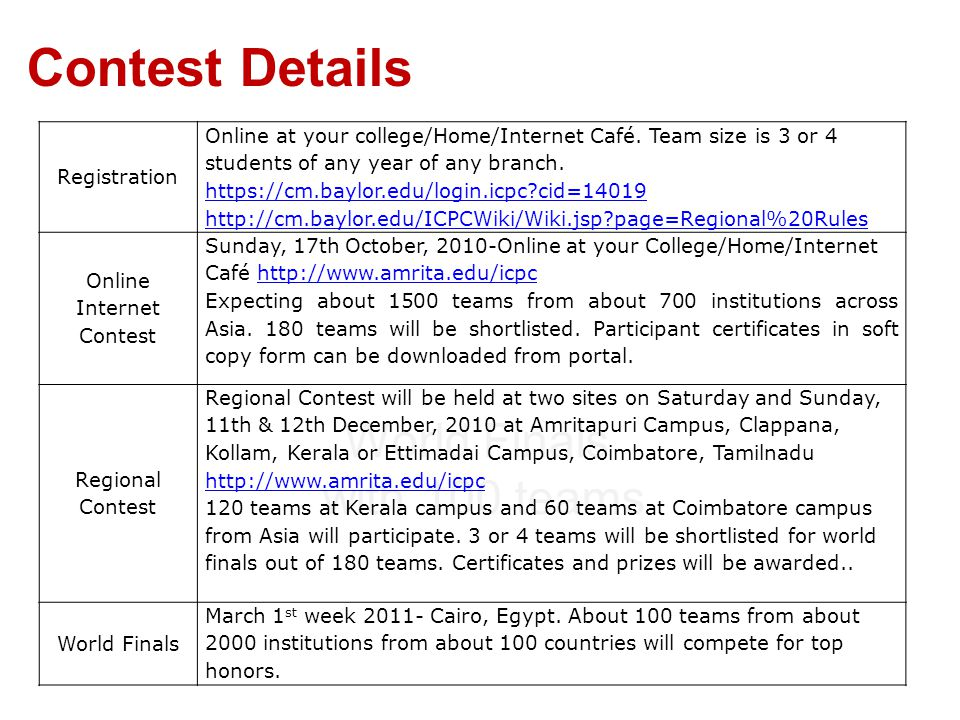 Contest Details World Finals with 100 teams Registration Online at your college/Home/Internet Café. Team size is 3 or 4 students of any year of any br