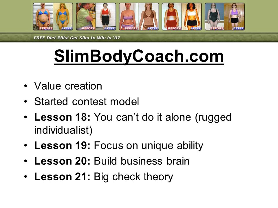 Value creation Started contest model Lesson 18: You cant do it alone (rugged individualist) Lesson 19: Focus on unique ability Lesson 20: Build busine