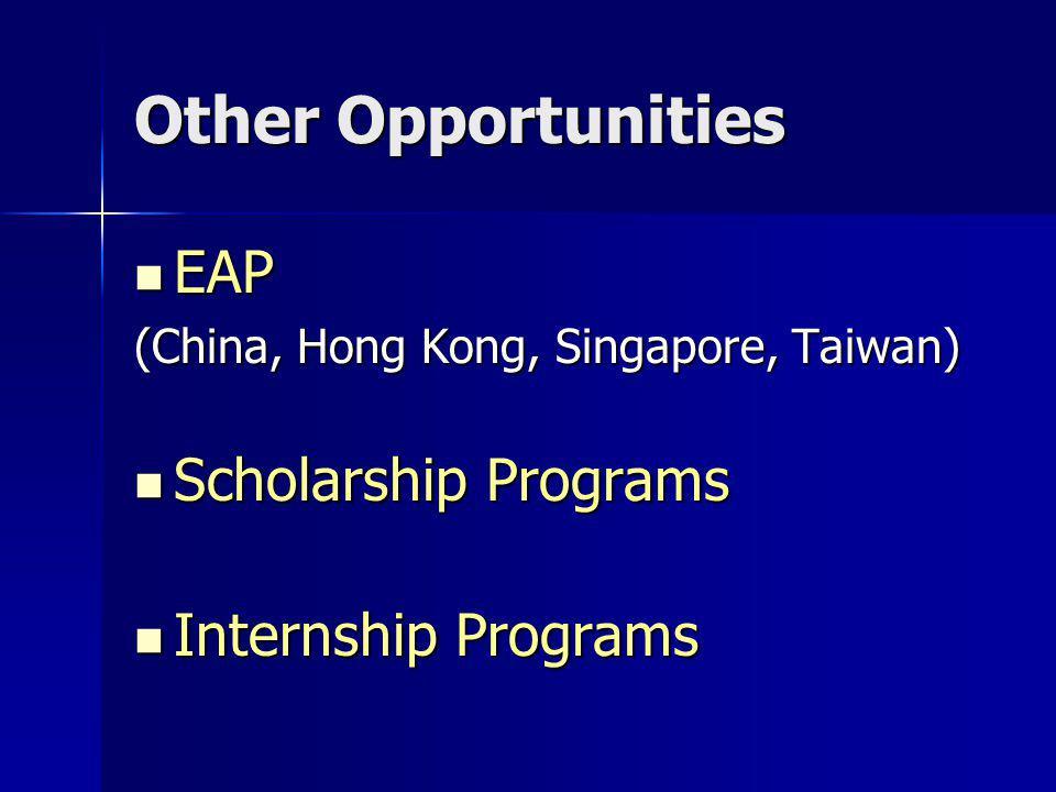 Other Opportunities EAP EAP (China, Hong Kong, Singapore, Taiwan) Scholarship Programs Scholarship Programs Internship Programs Internship Programs