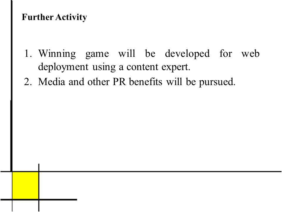 Further Activity 1.Winning game will be developed for web deployment using a content expert.