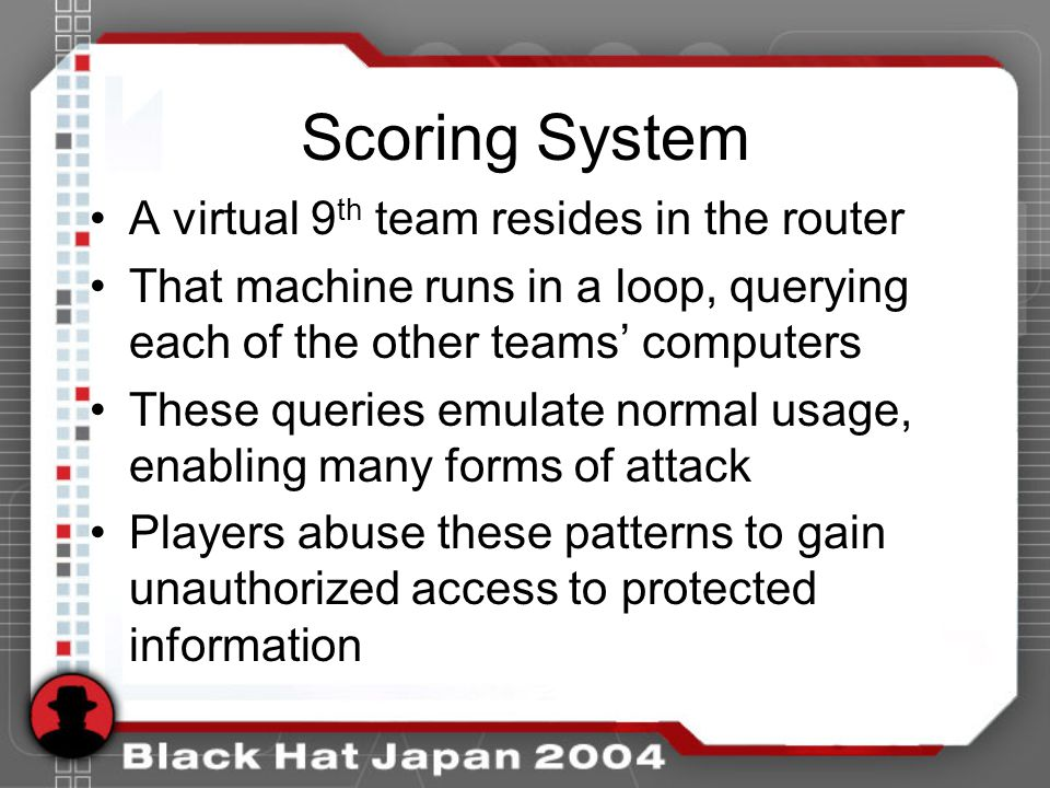 Scoring System A virtual 9 th team resides in the router That machine runs in a loop, querying each of the other teams computers These queries emulate normal usage, enabling many forms of attack Players abuse these patterns to gain unauthorized access to protected information