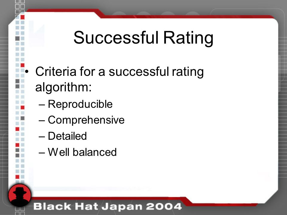 Successful Rating Criteria for a successful rating algorithm: –Reproducible –Comprehensive –Detailed –Well balanced
