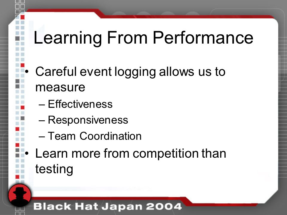 Learning From Performance Careful event logging allows us to measure –Effectiveness –Responsiveness –Team Coordination Learn more from competition than testing