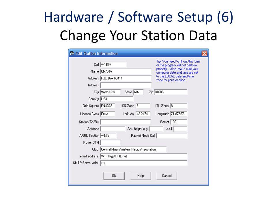 Hardware / Software Setup (6) Change Your Station Data