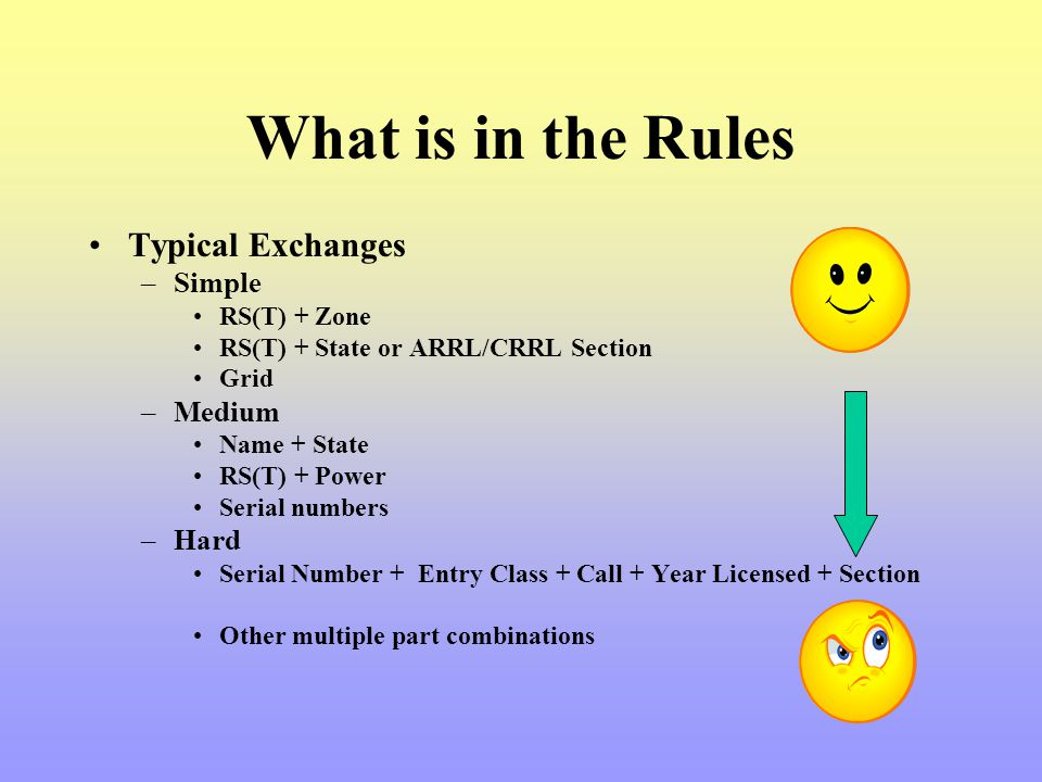 Typical Exchanges –Simple RS(T) + Zone RS(T) + State or ARRL/CRRL Section Grid –Medium Name + State RS(T) + Power Serial numbers –Hard Serial Number +