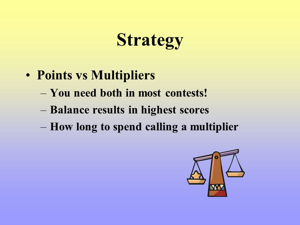 Strategy Points vs Multipliers –You need both in most contests! –Balance results in highest scores –How long to spend calling a multiplier