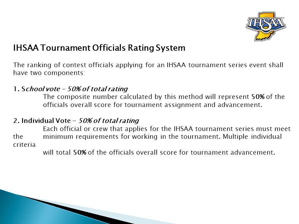 School vote – 50% 1.Each school will be asked to rate an official or crew listed on the IHSAA Officials Voting Survey.