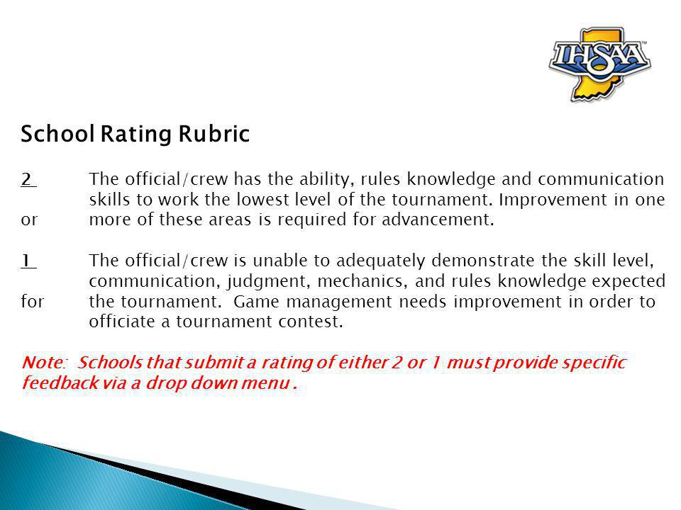 School Rating Rubric 2 The official/crew has the ability, rules knowledge and communication skills to work the lowest level of the tournament.