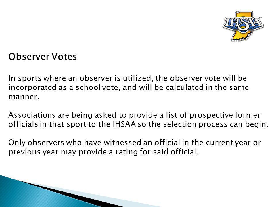 Observer Votes In sports where an observer is utilized, the observer vote will be incorporated as a school vote, and will be calculated in the same manner.