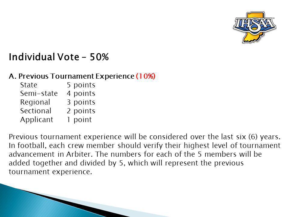 Individual Vote – 50% A.