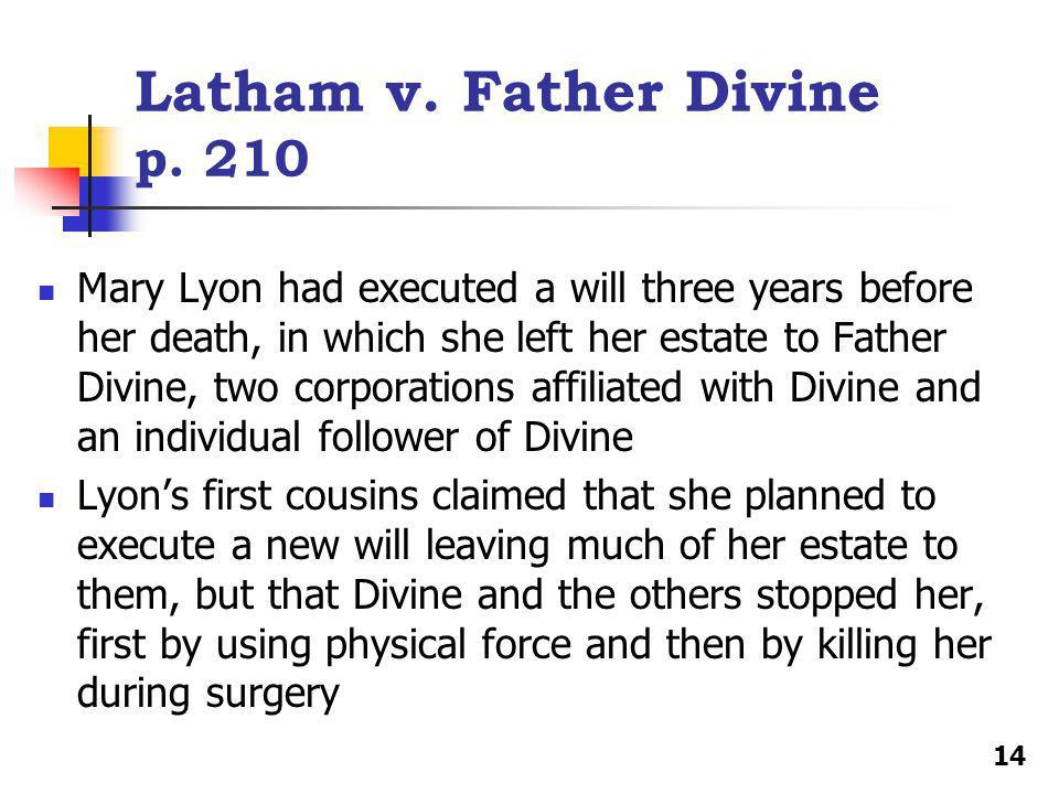 Latham v. Father Divine p.