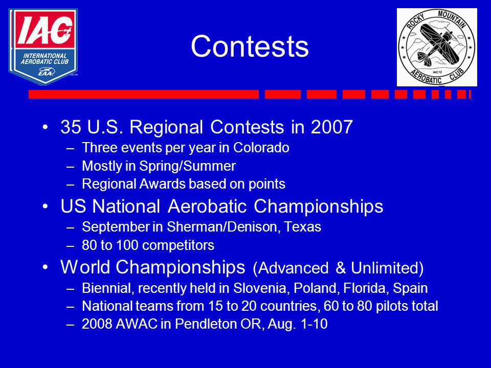 Contests 35 U.S. Regional Contests in 2007 –Three events per year in Colorado –Mostly in Spring/Summer –Regional Awards based on points US National Ae