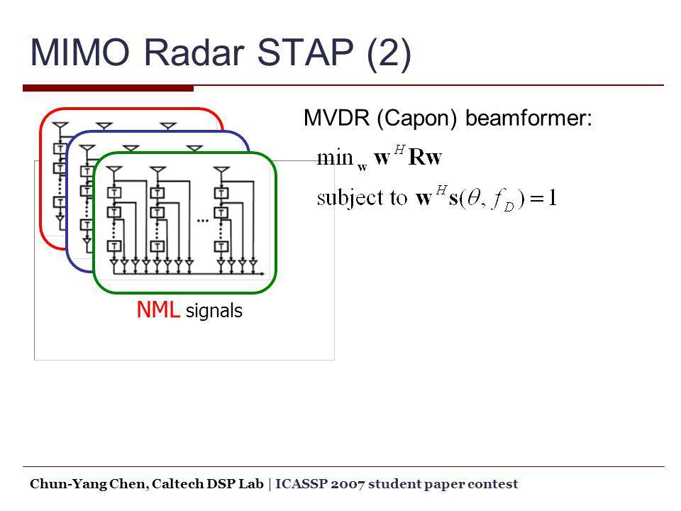MIMO Radar STAP (2) NML signals MVDR (Capon) beamformer: Chun-Yang Chen, Caltech DSP Lab   ICASSP 2007 student paper contest