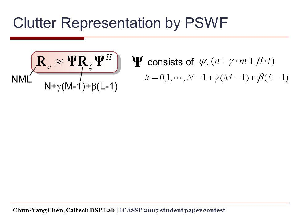 Clutter Representation by PSWF consists of NML N+ (M-1)+ (L-1) Chun-Yang Chen, Caltech DSP Lab   ICASSP 2007 student paper contest