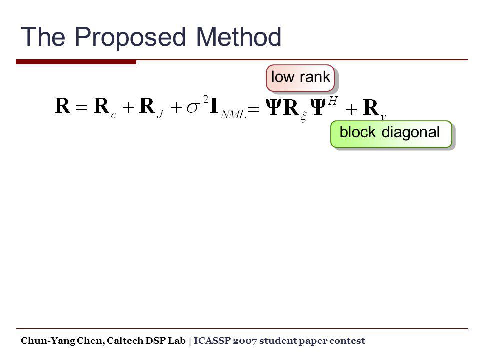 The Proposed Method low rank block diagonal Chun-Yang Chen, Caltech DSP Lab   ICASSP 2007 student paper contest