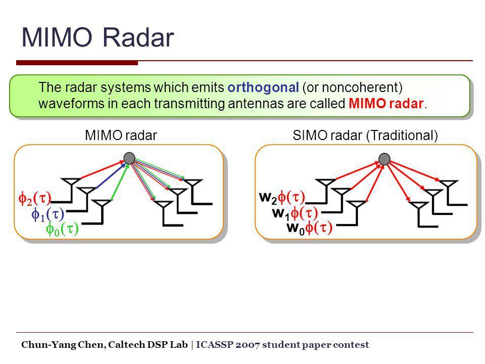 Chun-Yang Chen, Caltech DSP Lab   ICASSP 2007 student paper contest MIMO Radar MIMO radar SIMO radar (Traditional) The radar systems which emits ortho