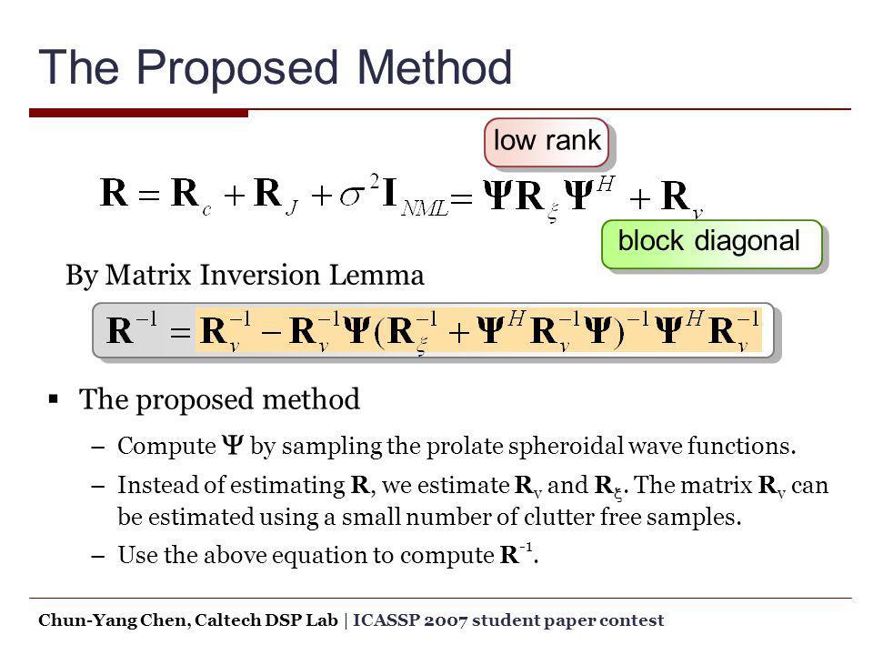 The Proposed Method low rank block diagonal The proposed method –Compute by sampling the prolate spheroidal wave functions. –Instead of estimating R,