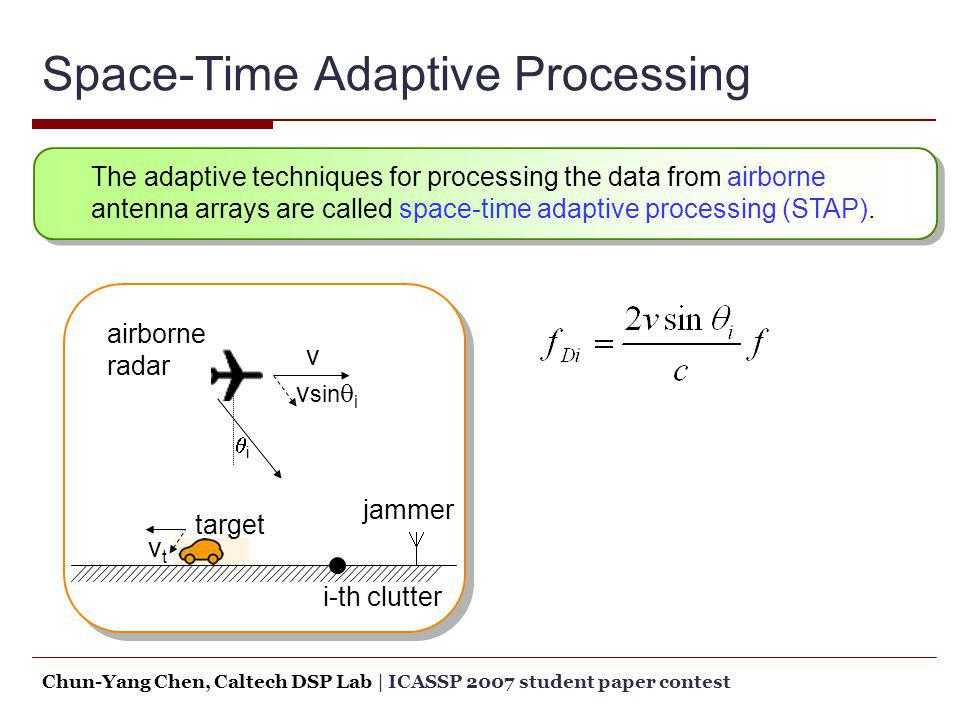 Space-Time Adaptive Processing v v sin i airborne radar jammer target i-th clutter vtvt i The adaptive techniques for processing the data from airborn