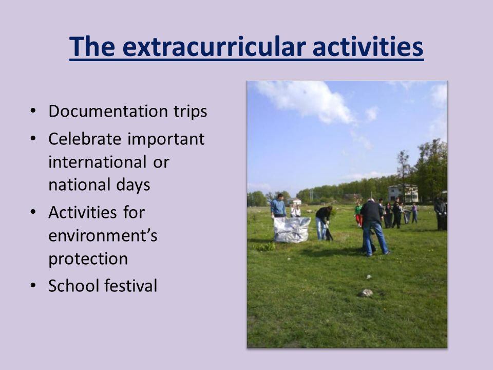 The extracurricular activities Documentation trips Celebrate important international or national days Activities for environments protection School festival