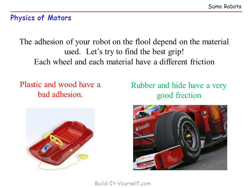 Physics of Motors Build-It-Yourself.com The adhesion of your robot on the flool depend on the material used.
