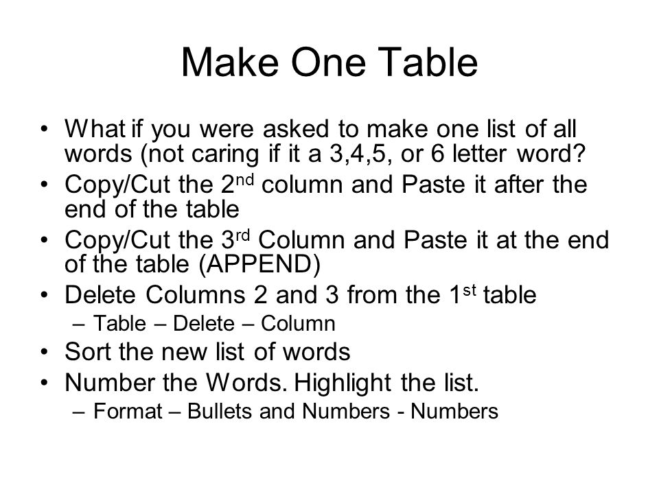 Make One Table What if you were asked to make one list of all words (not caring if it a 3,4,5, or 6 letter word? Copy/Cut the 2 nd column and Paste it