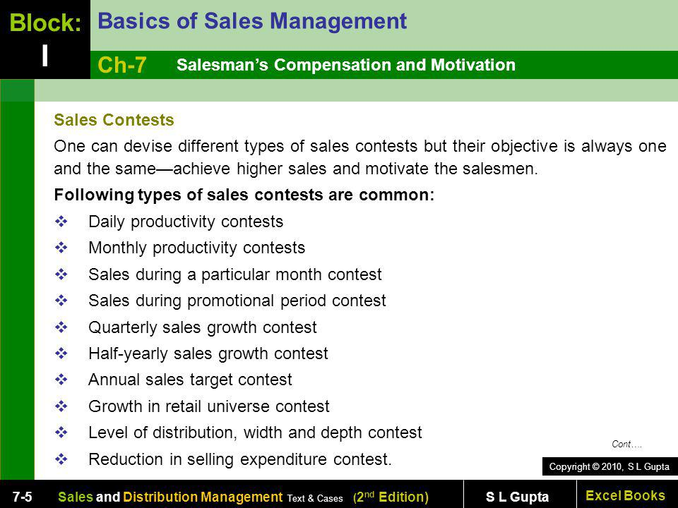 Copyright © 2010, S L Gupta Excel Books Sales and Distribution Management Text & Cases ( 2 nd Edition) S L Gupta7-5 Salesmans Compensation and Motivat