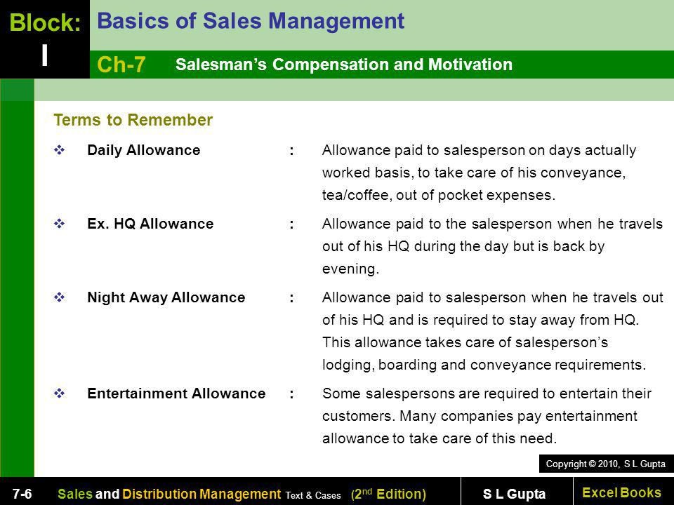 Copyright © 2010, S L Gupta Excel Books Sales and Distribution Management Text & Cases ( 2 nd Edition) S L Gupta7-6 Salesmans Compensation and Motivat
