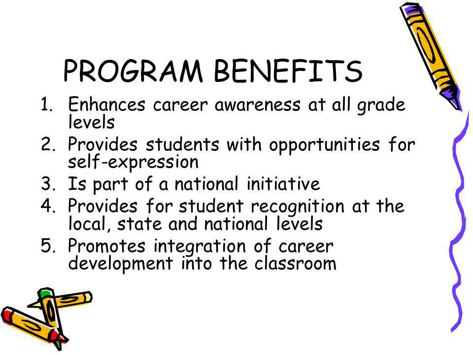 PROGRAM BENEFITS 1.Enhances career awareness at all grade levels 2.Provides students with opportunities for self-expression 3.Is part of a national in