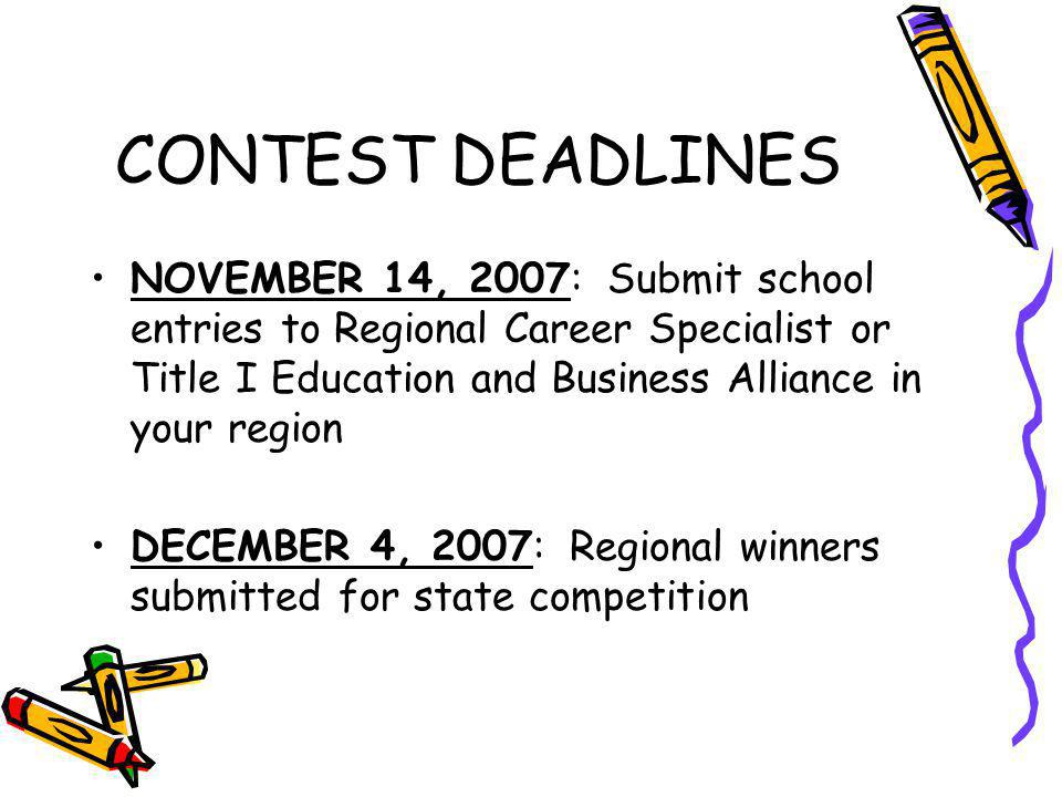 CONTEST DEADLINES NOVEMBER 14, 2007: Submit school entries to Regional Career Specialist or Title I Education and Business Alliance in your region DECEMBER 4, 2007: Regional winners submitted for state competition