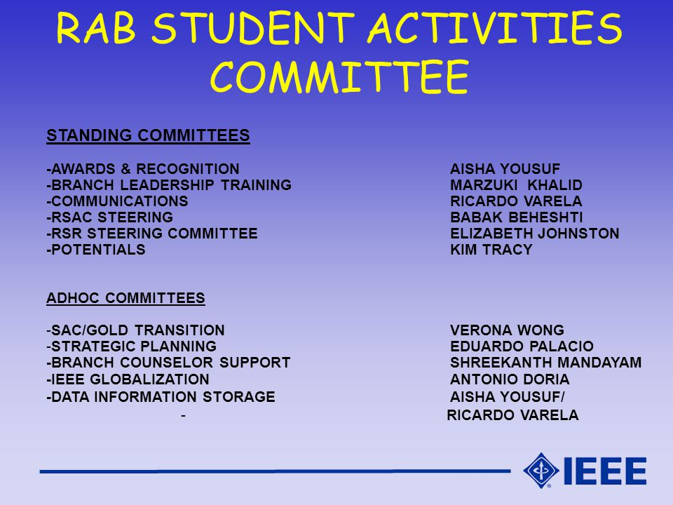 RAB STUDENT ACTIVITIES COMMITTEE STANDING COMMITTEES -AWARDS & RECOGNITIONAISHA YOUSUF -BRANCH LEADERSHIP TRAININGMARZUKI KHALID -COMMUNICATIONS RICARDO VARELA -RSAC STEERINGBABAK BEHESHTI -RSR STEERING COMMITTEEELIZABETH JOHNSTON -POTENTIALSKIM TRACY ADHOC COMMITTEES -SAC/GOLD TRANSITIONVERONA WONG -STRATEGIC PLANNINGEDUARDO PALACIO -BRANCH COUNSELOR SUPPORTSHREEKANTH MANDAYAM -IEEE GLOBALIZATIONANTONIO DORIA -DATA INFORMATION STORAGEAISHA YOUSUF/ - RICARDO VARELA