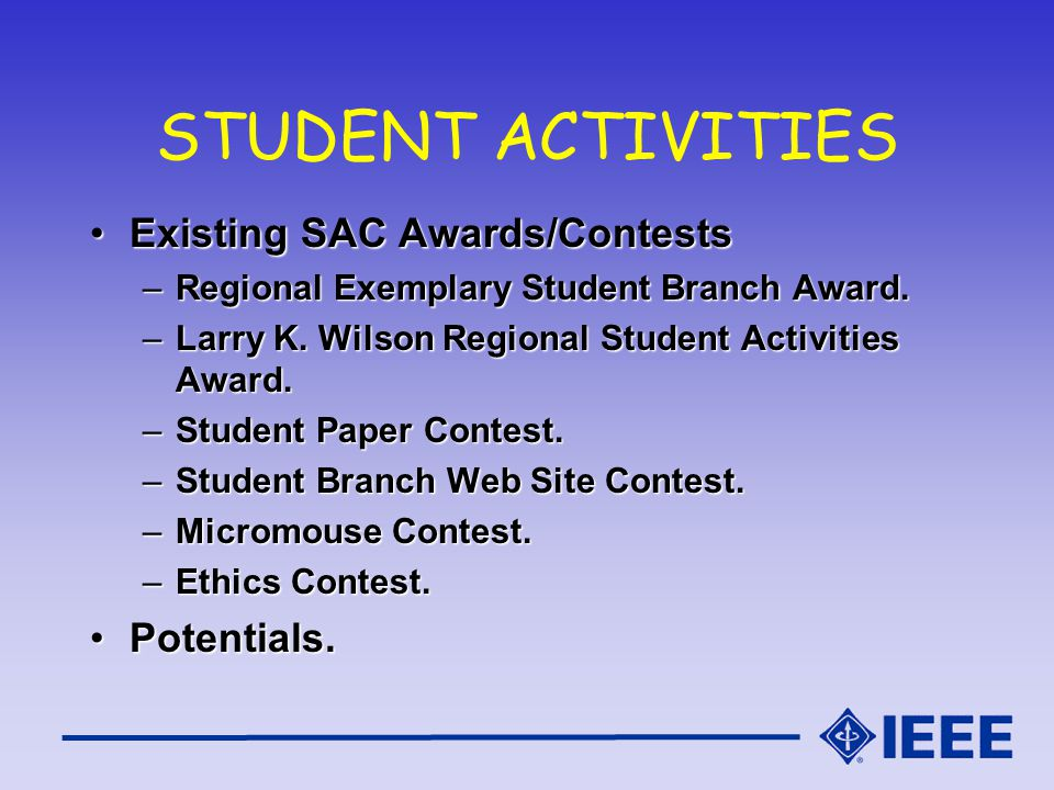 STUDENT ACTIVITIES Existing SAC Awards/ContestsExisting SAC Awards/Contests –Regional Exemplary Student Branch Award.