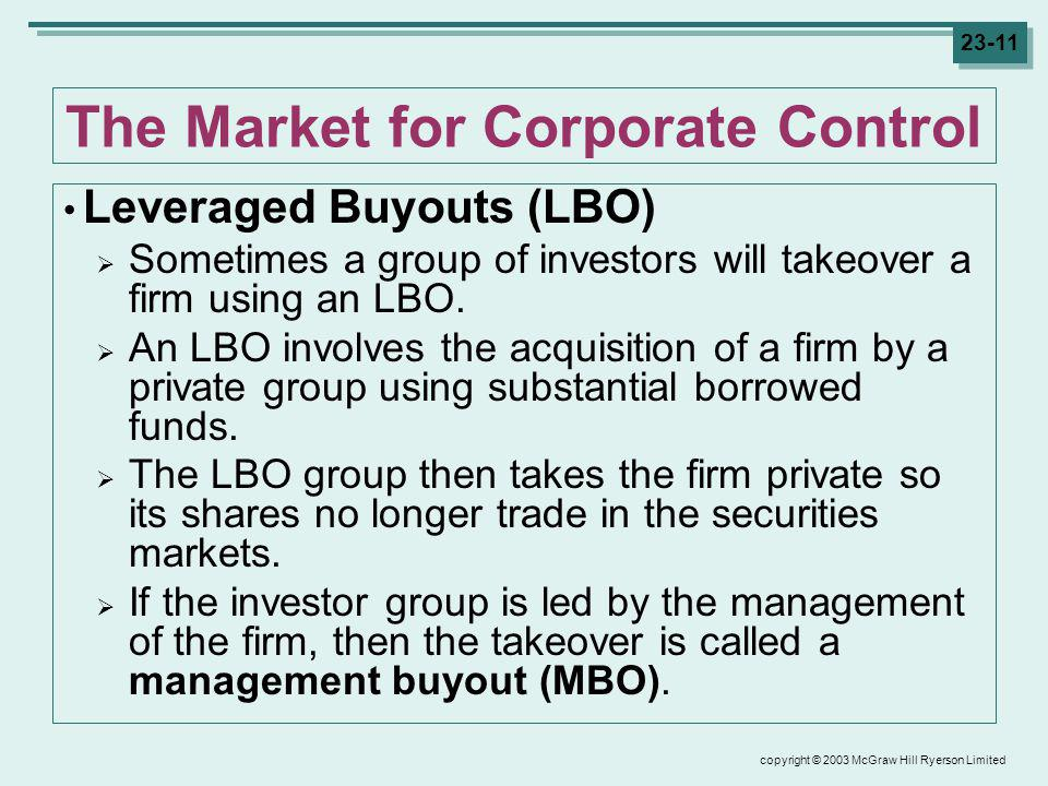 copyright © 2003 McGraw Hill Ryerson Limited 23-11 The Market for Corporate Control Leveraged Buyouts (LBO) Sometimes a group of investors will takeover a firm using an LBO.