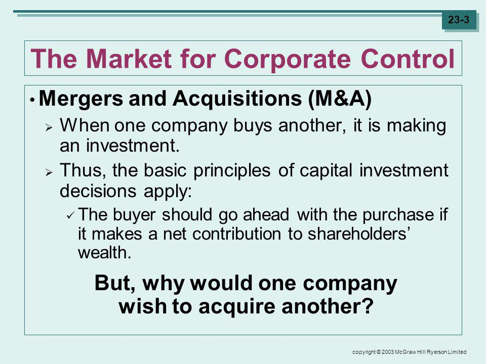 copyright © 2003 McGraw Hill Ryerson Limited 23-3 The Market for Corporate Control Mergers and Acquisitions (M&A) When one company buys another, it is making an investment.