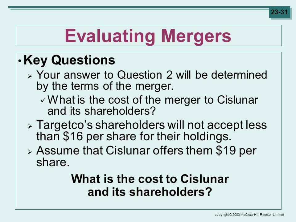 copyright © 2003 McGraw Hill Ryerson Limited 23-31 Evaluating Mergers Key Questions Your answer to Question 2 will be determined by the terms of the merger.