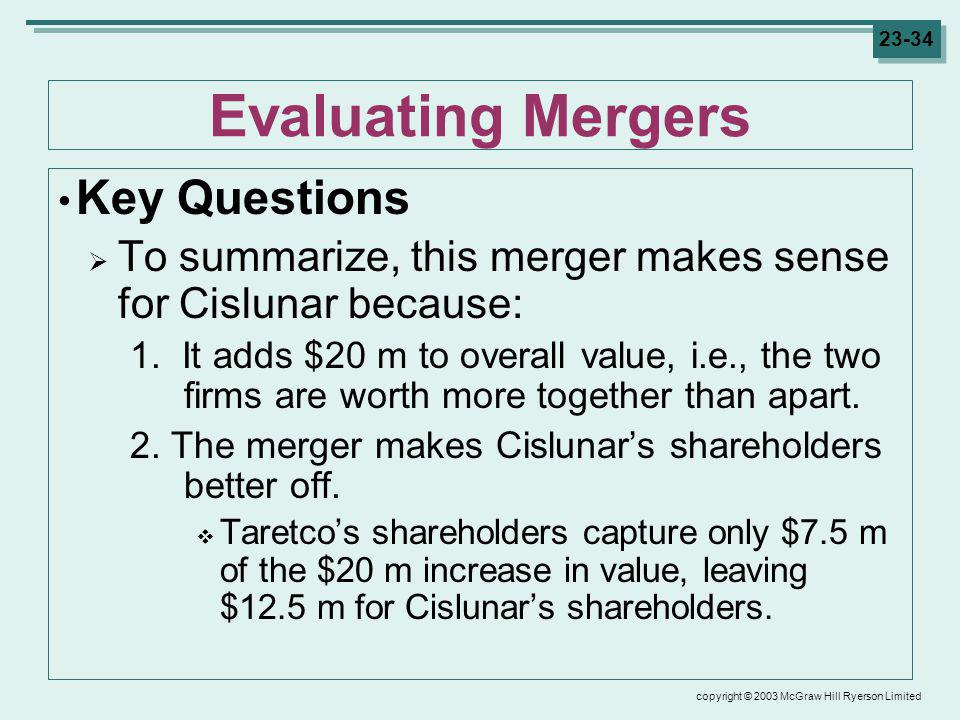 copyright © 2003 McGraw Hill Ryerson Limited 23-34 Evaluating Mergers Key Questions To summarize, this merger makes sense for Cislunar because: 1.