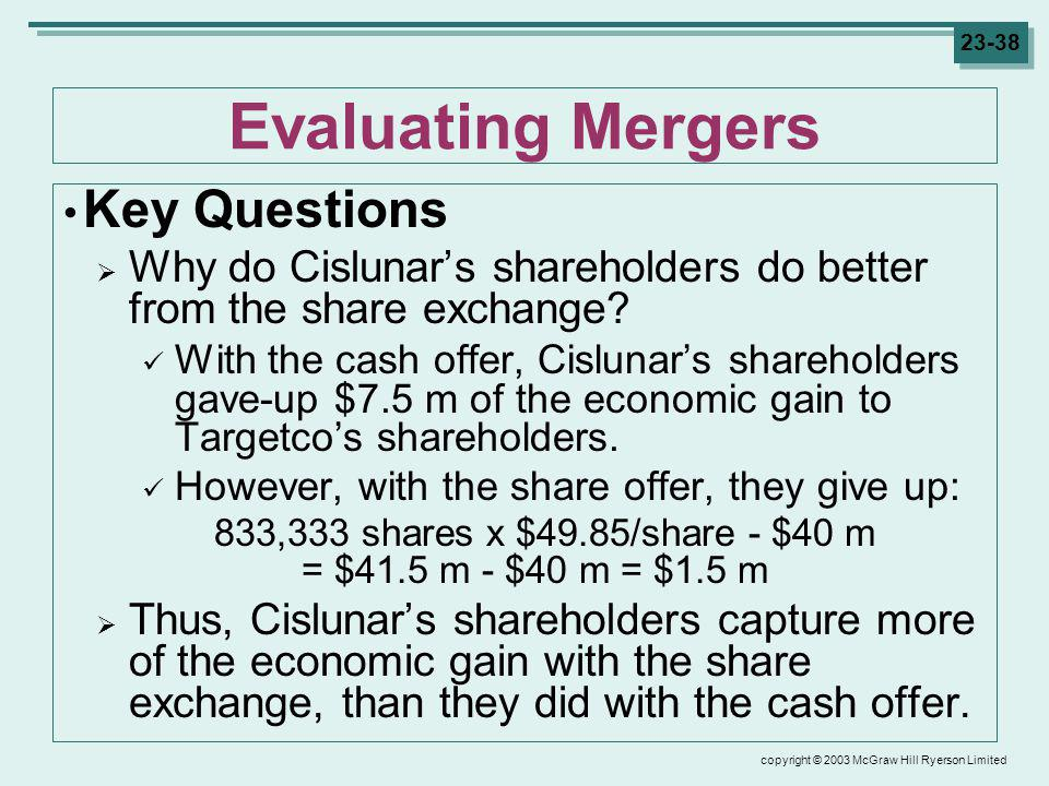 copyright © 2003 McGraw Hill Ryerson Limited 23-38 Evaluating Mergers Key Questions Why do Cislunars shareholders do better from the share exchange.