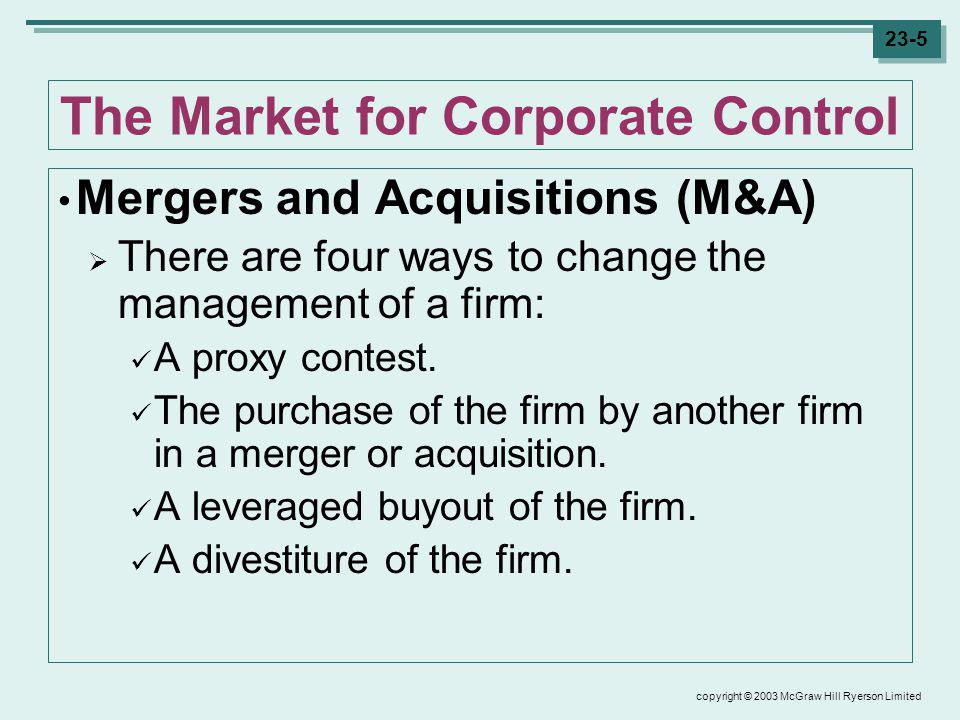 copyright © 2003 McGraw Hill Ryerson Limited 23-6 The Market for Corporate Control Proxy Battles When a group of investors believes that the Board and its management team should be replaced, they can launch a proxy contest or a proxy fight.