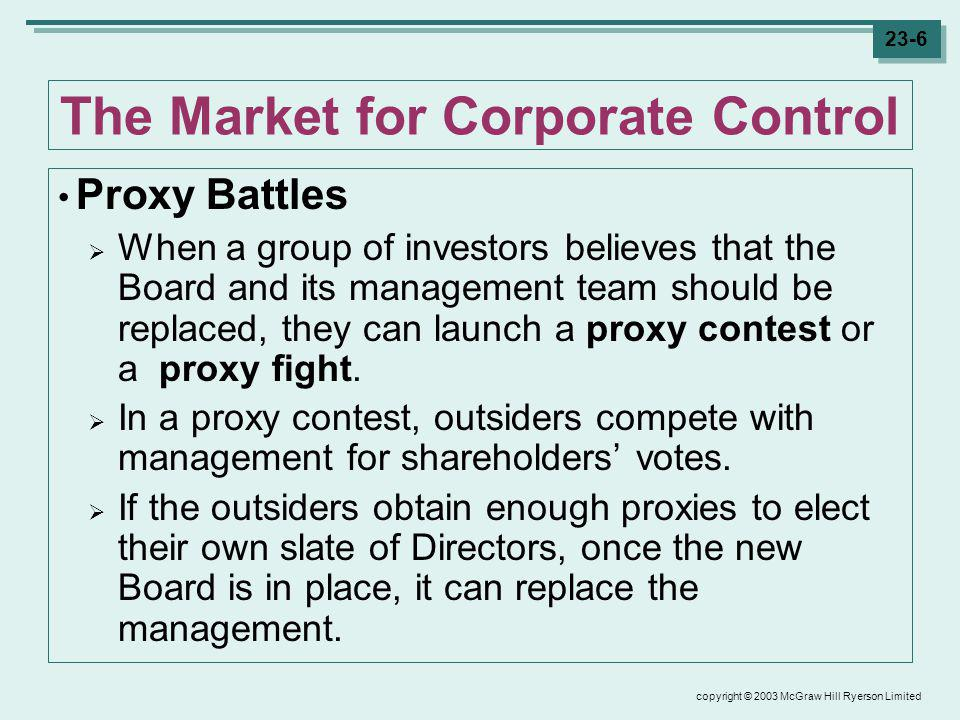 copyright © 2003 McGraw Hill Ryerson Limited 23-17 Dubious Reasons for Mergers When Mergers Dont Make Sense Diversification Diversification reduces risk, which is beneficial.