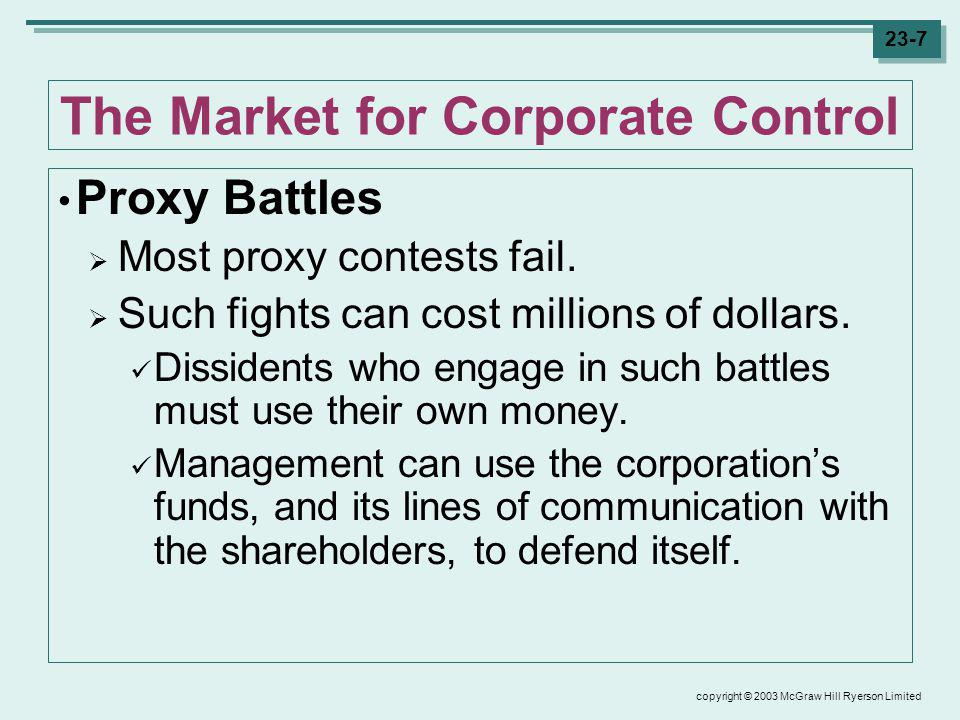 copyright © 2003 McGraw Hill Ryerson Limited 23-8 The Market for Corporate Control Mergers and Acquisitions Proxy contests are rare – poorly performing managers face a far greater risk from mergers and acquisitions.