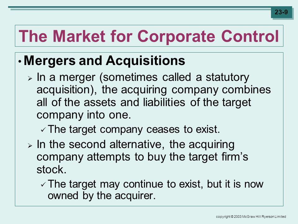 copyright © 2003 McGraw Hill Ryerson Limited 23-30 Evaluating Mergers Key Questions The total economic gain to this merger is $4m of extra earnings per year.