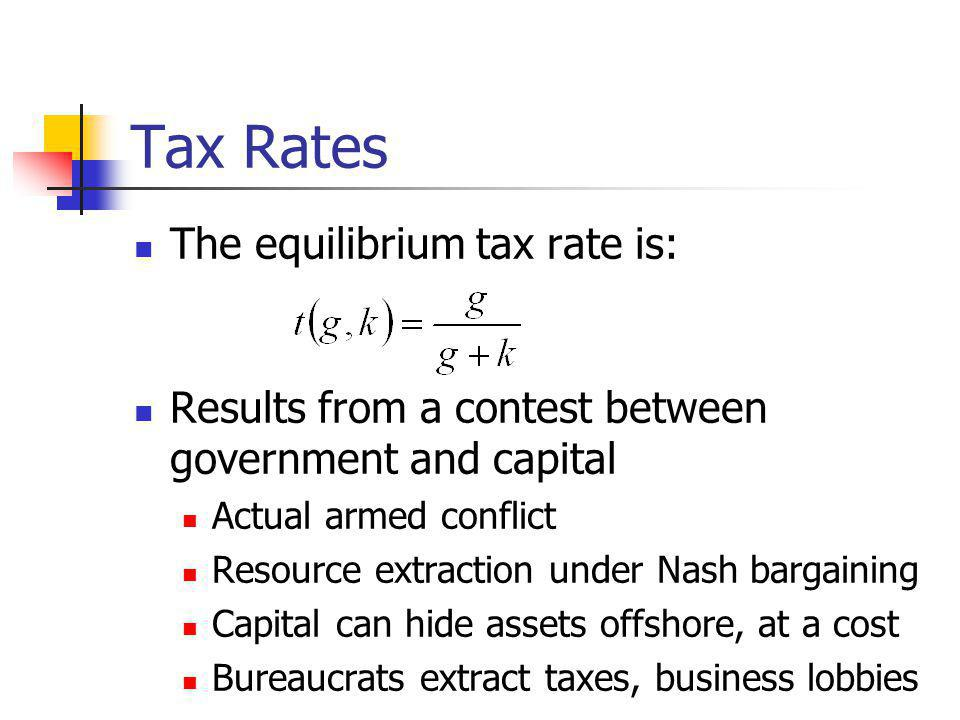 Tax Rates The equilibrium tax rate is: Results from a contest between government and capital Actual armed conflict Resource extraction under Nash bargaining Capital can hide assets offshore, at a cost Bureaucrats extract taxes, business lobbies