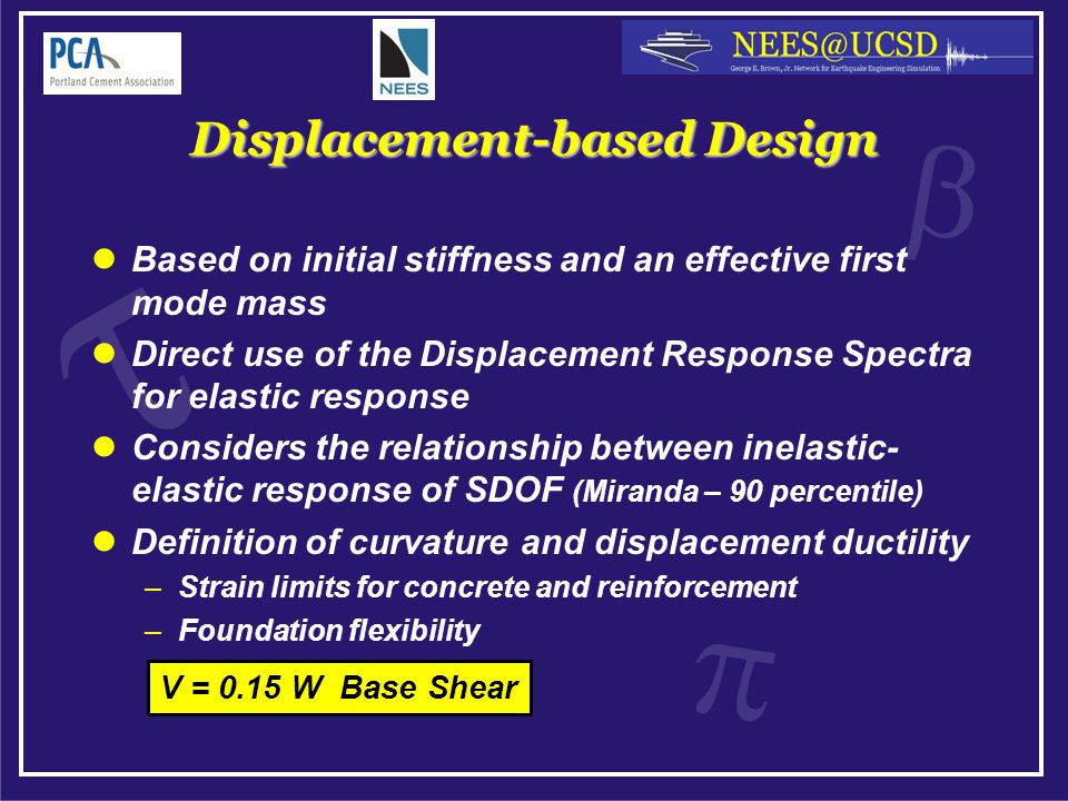 Displacement-based Design Based on initial stiffness and an effective first mode mass Direct use of the Displacement Response Spectra for elastic response Considers the relationship between inelastic- elastic response of SDOF (Miranda – 90 percentile) Definition of curvature and displacement ductility –Strain limits for concrete and reinforcement –Foundation flexibility V = 0.15 W Base Shear