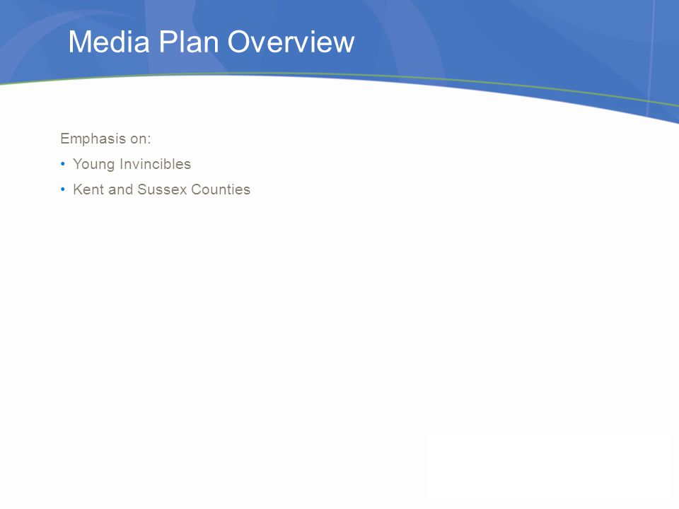 Media Plan Overview Emphasis on: Young Invincibles Kent and Sussex Counties