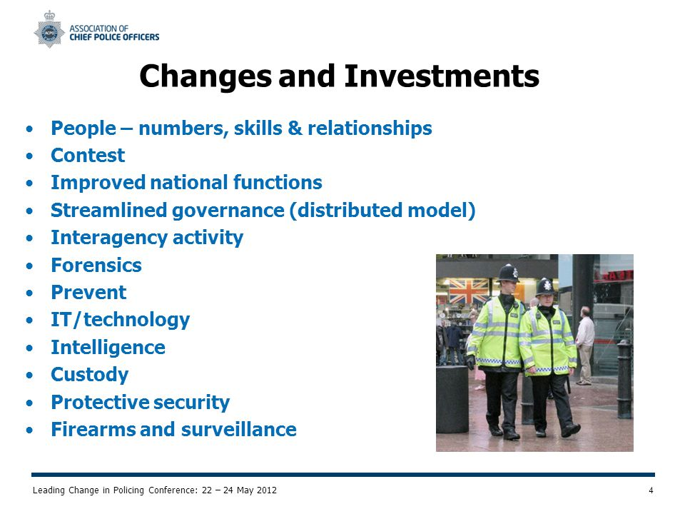 Leading Change in Policing Conference: 22 – 24 May 2012 5 Recent Focus has been on National Coordination and Tasking National Intelligence Handling Model National Interoperability IT/technology/communication development TAM Business Improvement Olympics