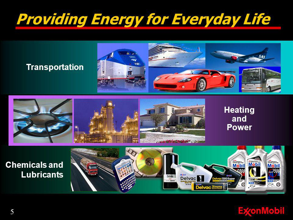 Providing Energy for Everyday Life Chemicals and Lubricants Heating and Power Transportation 5