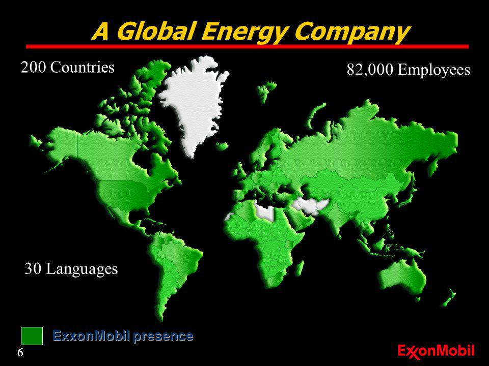 A Global Energy Company ExxonMobil presence 82,000 Employees 200 Countries 30 Languages 6