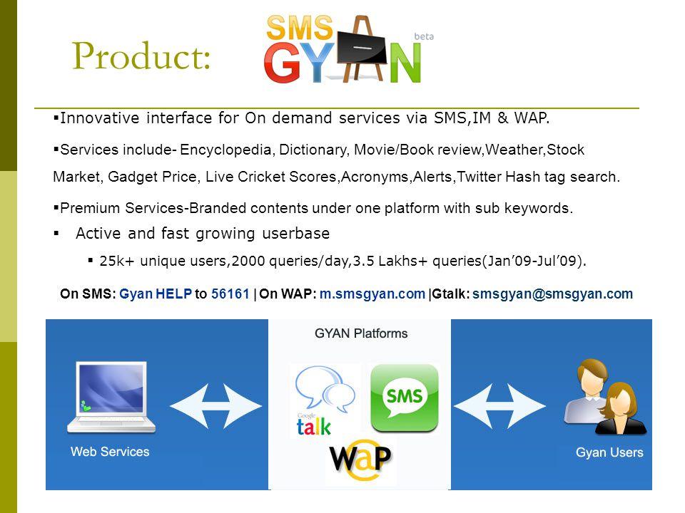 SMSGYAN - Highlights Innovative interface for On demand services via SMS,IM & WAP.